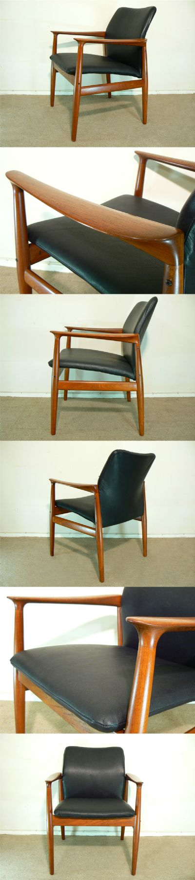 A teak armchair, c1960s. Manufactured by Glostrup Mobelfabrik and designed by Grete Jalke.  Newly covered in black hide.