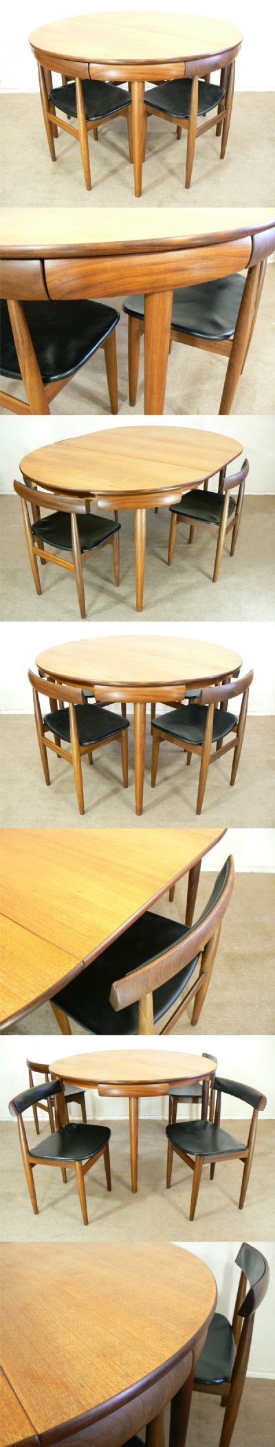 A Frem Rojle 'Roundette' series extending dining table and four matching chairs. Fully restored, a stunning example of this popular set. Two more chairs available.