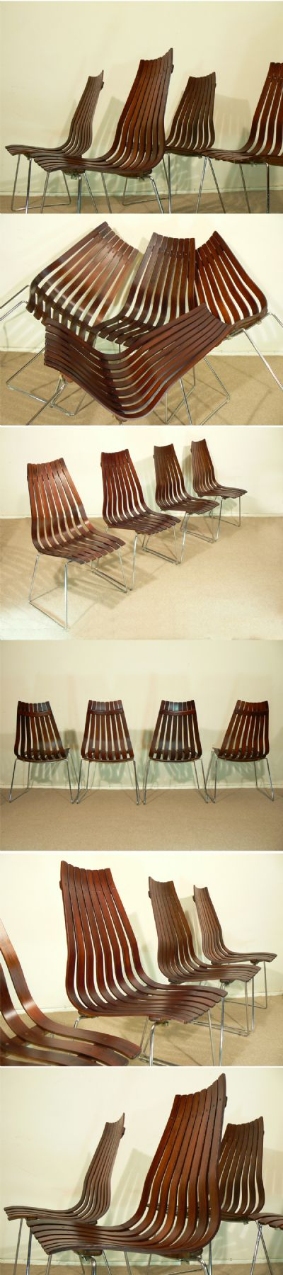 Set of four rosewood 'Scandia' senior dining chairs by Hans Brattrud for Hove mobler, c1960s. Originally designed in the 1950's, this iconic chair is now out of production in rosewood.