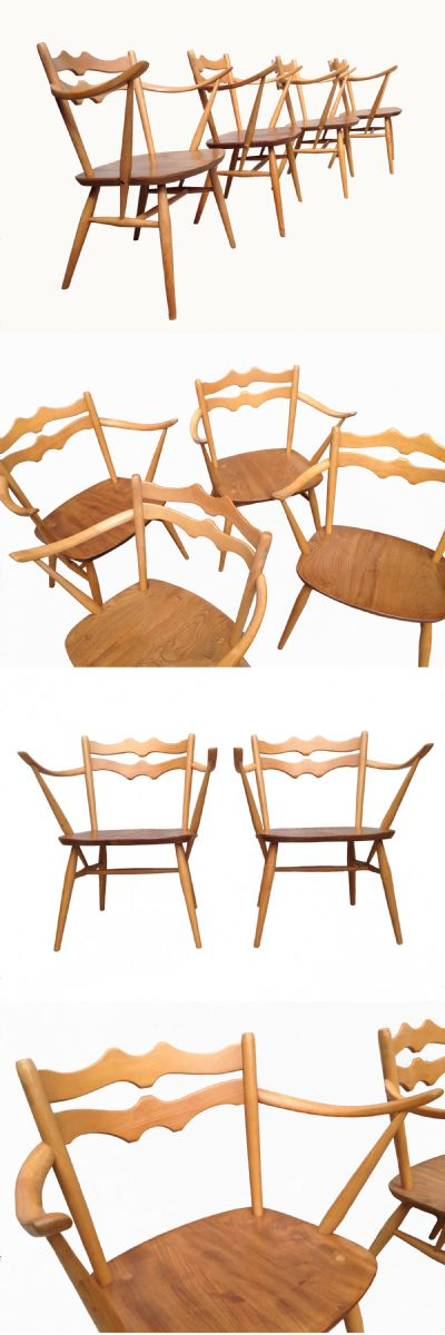 An extremely rare set of four Ercol armchairs, c1960s.