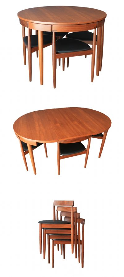A Frem Rojle extending table c1960s with four chairs, (two more available)