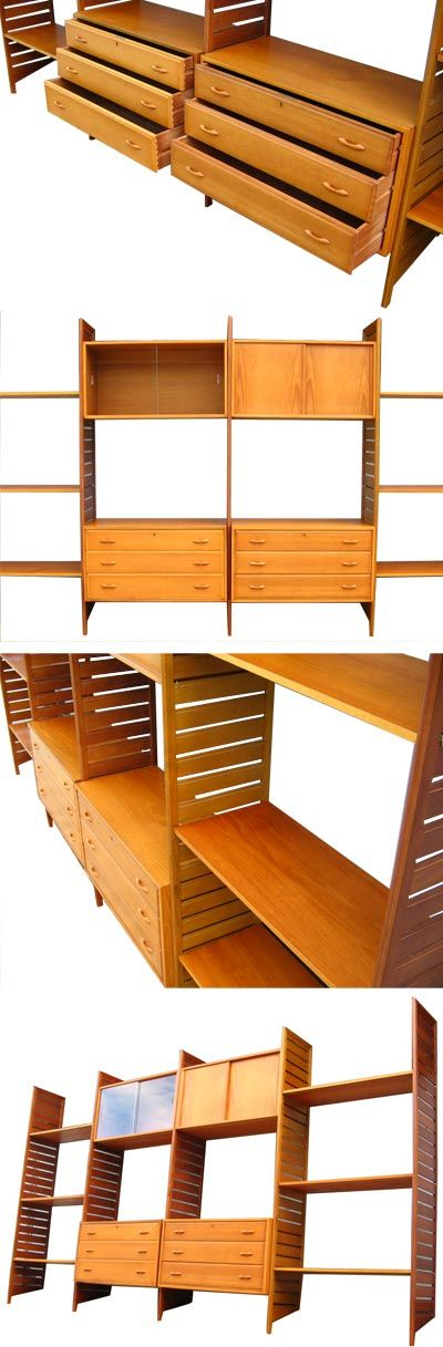 Large wood framed, wall mounted Ladderax system. A much sought after big system with desirable teak uprights. Lots of versatile storage, an iconic piece.